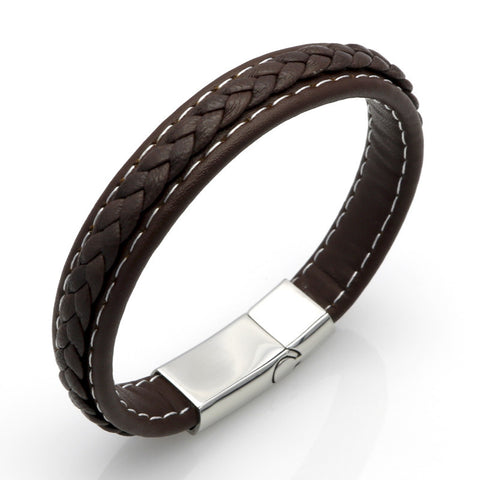 W3 - Men's Braided Leather Wristband Bracelet With Stainless Steel Magnetic Clasp