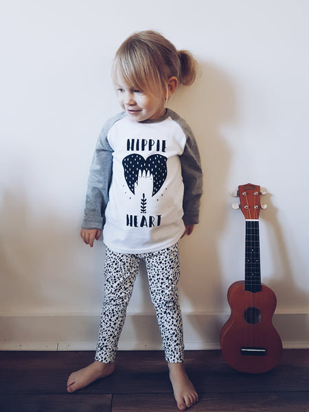 Hippie Heart Kids Raglan Tee