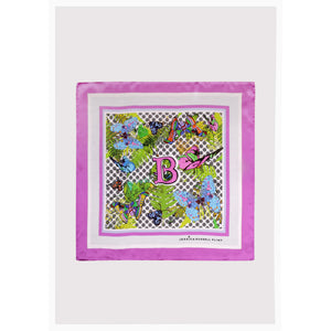 "Alphabet Silk Neckscarf / ""B for Butterfly"""