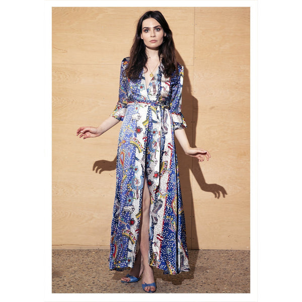 Jessica Russell Flint Autumn Winter Fashion Clothing Luxury Printed Silk Party Dress
