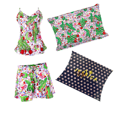 Gift Set / 'Cactus PJ Short & Cami + Silk Pillowcase''