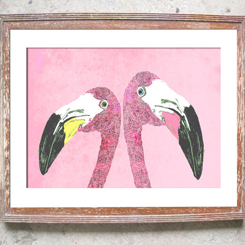 "Signed Print / ""The Loved Up Flamingos"""