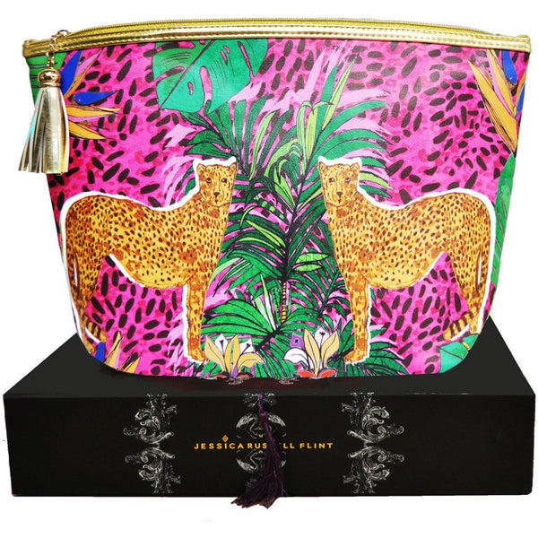 Jessica Russell Flint Vegan Leather Giant Wash Bag Waterproof Luxury Accessories Gift Gifting Ideas Spring Summer Colourful Leopard Print Hot Cheetah