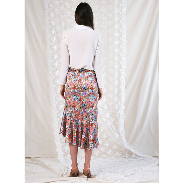 "Side Frill Skirt / ""Iced Florals"""