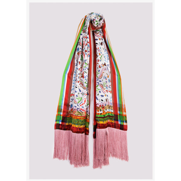 "XL Silk Oblong Wrap Shawl with Tassels / ""Indiana"""