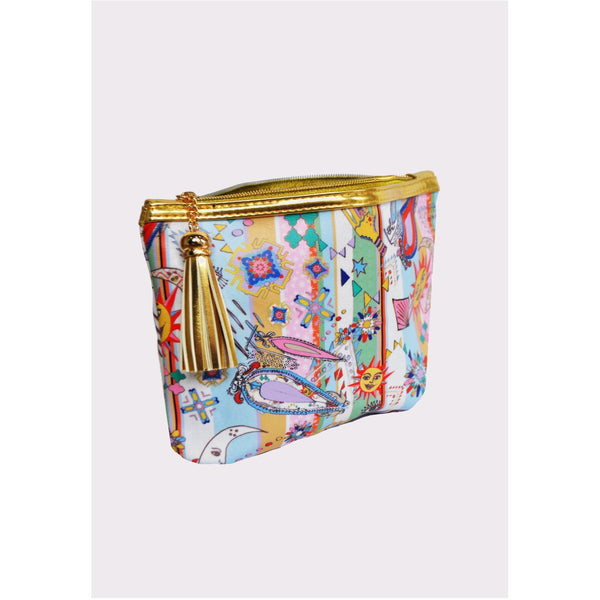 Jessica Russell Flint Vegan Leather Classic Make Up Bag Luxury Accessories Gift Gifting Ideas Spring Summer Colourful Print Mad Summer
