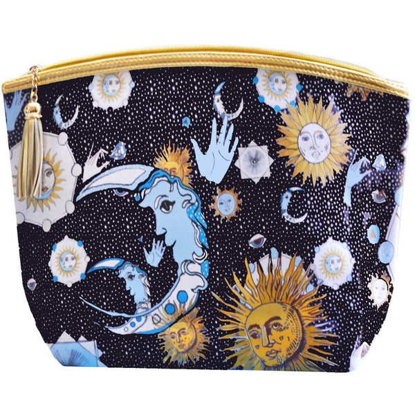 Jessica Russell Flint Vegan Leather Giant Wash Bag Waterproof Luxury Accessories Gift Gifting Ideas Spring Summer Sun Moon Print Kiss the Sky
