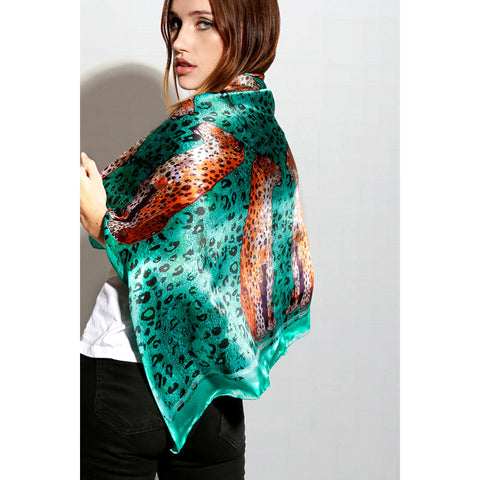"Silk Square Scarf / ""Staring Leopards"""