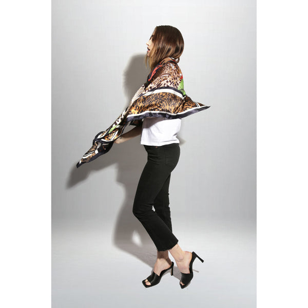 "Silk Oblong Scarf / ""Hot Cheetah"""