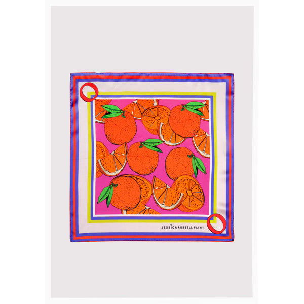 "Alphabet Silk Neckscarf / ""O for Oranges"""