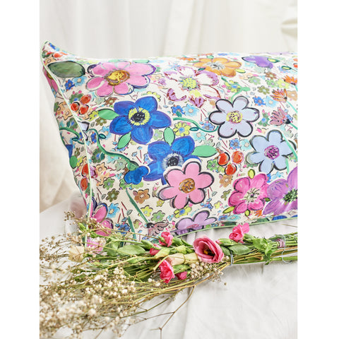 "Silk Pillowcase/ ""Paint By Flora"""