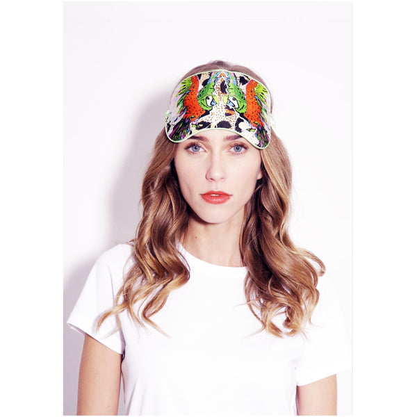 Jessica Russell Flint Silk Eye Mask Luxury Accessories Sleepwear Gift Gifting Ideas Spring Summer Colourful Print Punky Parrot