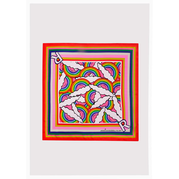 "Alphabet Silk Neckscarf / ""R for Rainbow"""