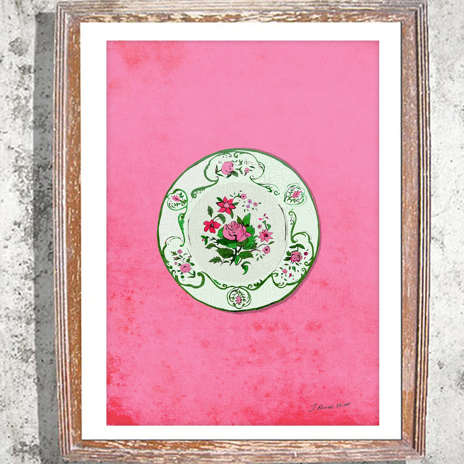 "Signed Print/ ""A plate of Roses"""