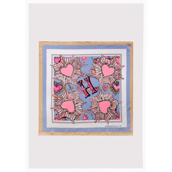 "Alphabet Silk Neckscarf / ""H for Heart"""