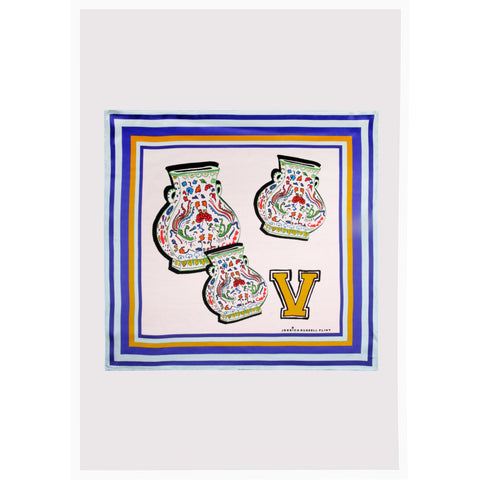 "Alphabet Silk Neckscarf / ""V for Vases"""