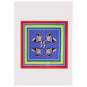 "Alphabet Silk Neckscarf / ""W for Walrus"""