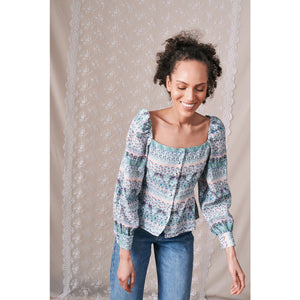 "Square Neck Blouse/ ""Wilde Border"""