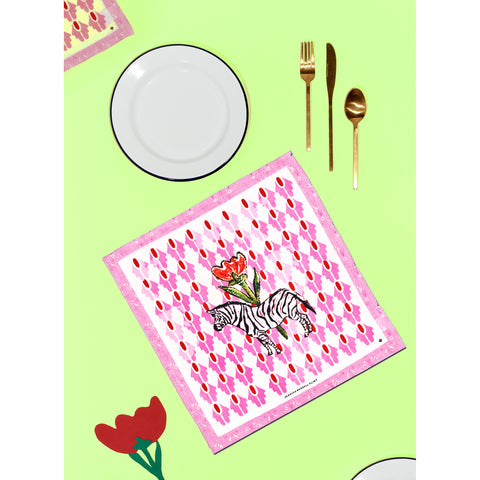 "Linen Table Napkins / ""Zebra"""