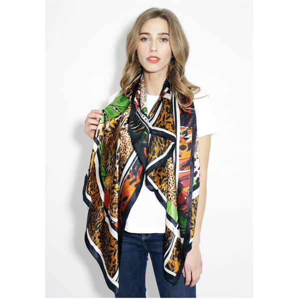Jessica Russell Flint Silk Oblong Scarf Luxury Accessories Gift Gifting Ideas Spring Summer Colourful Unique Leopard Print Hot Cheetah