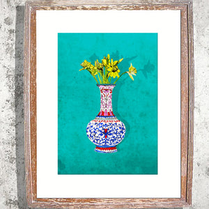 "Signed Print/ ""Daffs in a Vase"""