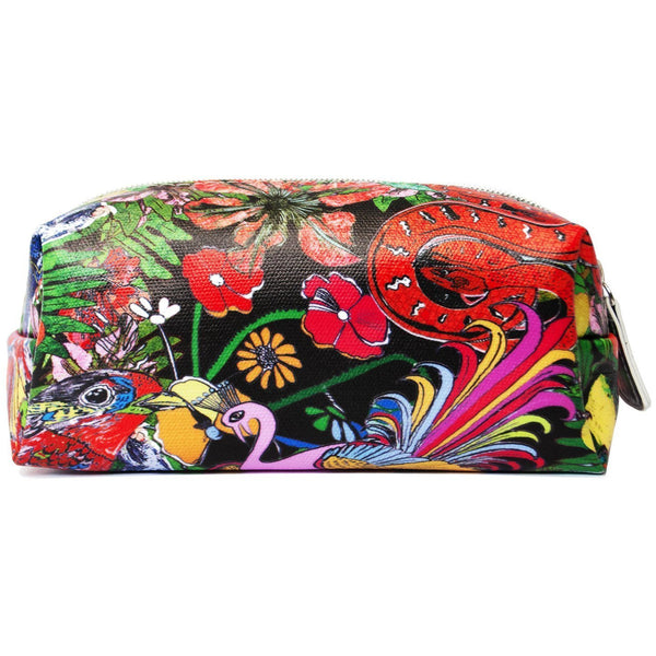 Jessica Russell Flint Mini Make Up Bag Luxury Accessories Vegan Leather Colourful Print Glorious Beasties
