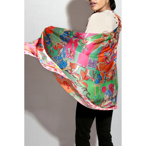 "Silk Oblong Scarf / ""HK Pop"""