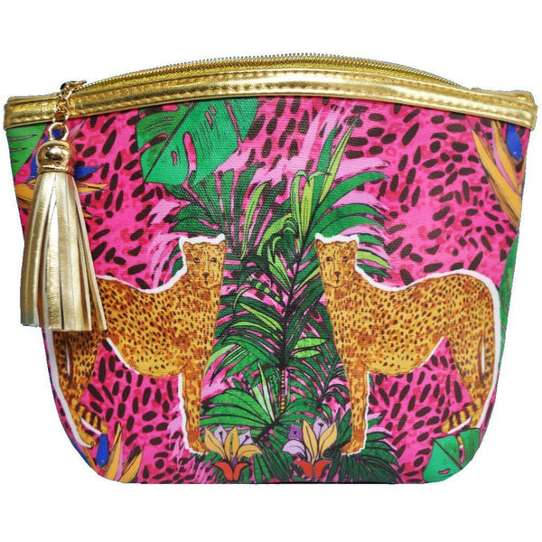 Jessica Russell Flint Vegan Leather Classic Make Up Bag Luxury Accessories Gift Gifting Ideas Spring Summer Colourful Leopard Print Hot Cheetah