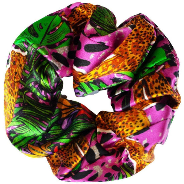 Jessica Russell Flint Silk Scrunchie Luxury Hair Accessories Gift Gifting Ideas Spring Summer Colourful Leopard Print Hot Cheetahv