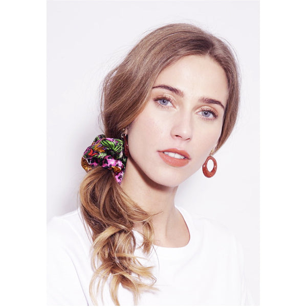 Jessica Russell Flint Silk Scrunchie Luxury Hair Accessories Gift Gifting Ideas Spring Summer Colourful Leopard Print Hot Cheetah