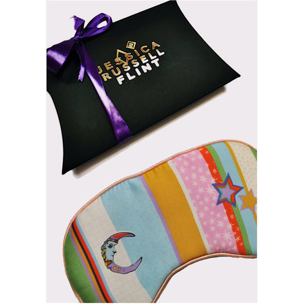 Jessica Russell Flint Silk Eye Mask Luxury Accessories Sleepwear Gift Gifting Ideas Spring Summer Colourful Print Kansas Summer Stripe