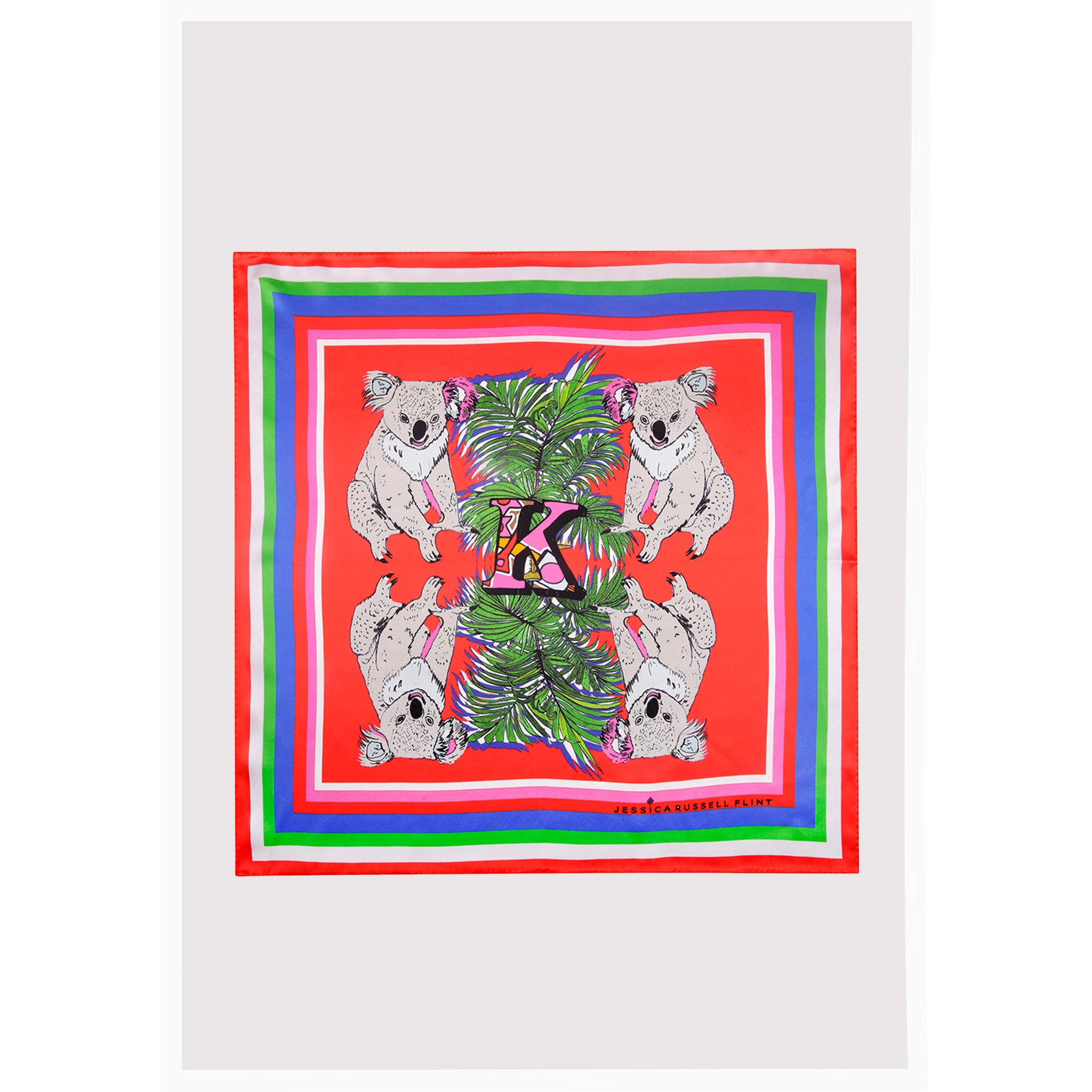 "Alphabet Silk Neckscarf / ""K for Koala"""