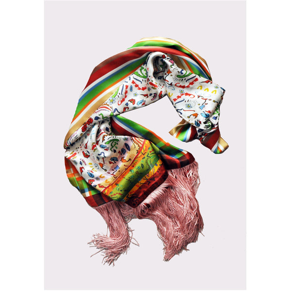 Jessica Russell Flint Silk Oblong Scarf with Tassels Luxury Accessories Gift Gifting Ideas Spring Summer Colourful Unique Print Indiana