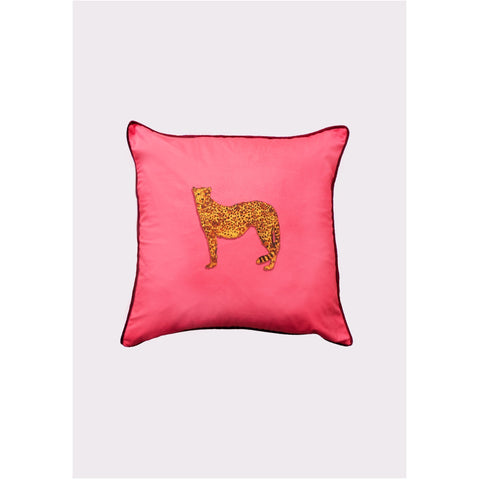 Jessica Russell Flint Velvet Cushion Cover Luxury Home Accessories Gift Gifting Ideas Spring Summer Pink Unique Leopard Print the Cheetah