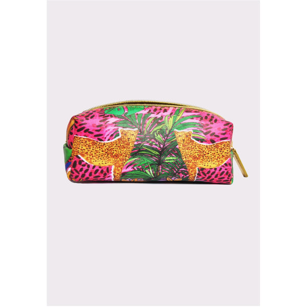 Jessica Russell Flint Mini Make Up Bag Luxury Accessories Vegan Leather Colourful Print Hot Cheetah