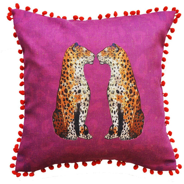 Jessica Russell Flint Pink Hopsack Cushion Cover Pom Pom Luxury Home Accessories Gift Gifting Ideas Spring Summer Staring Leopards Print