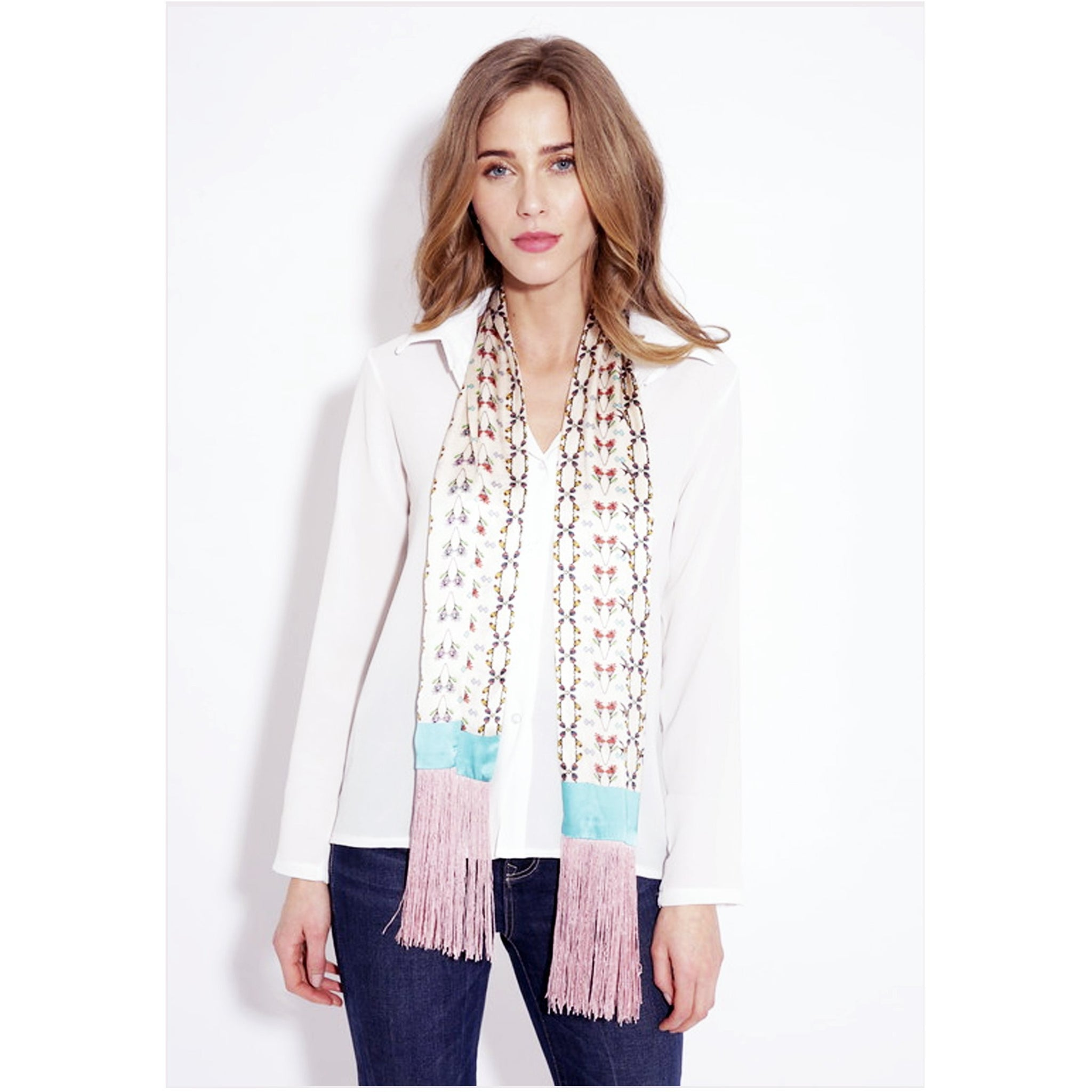 Jessica Russell Flint Silk Skinny Tassel Scarf Luxury Accessories Gift Gifting Ideas Spring Summer Pink Unique Print Prairie Check