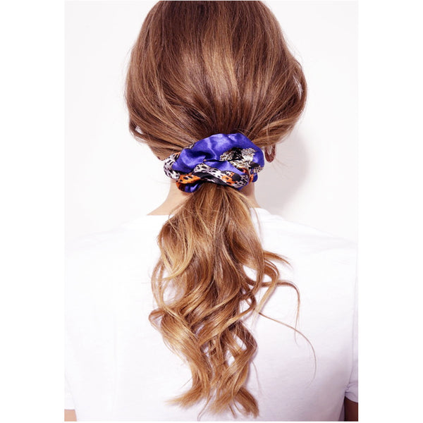 Jessica Russell Flint Silk Scrunchie Luxury Hair Accessories Gift Gifting Ideas Spring Summer Blue Print Staring Leopard