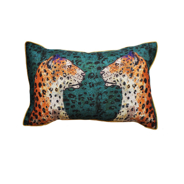 Jessica Russell Flint Hopsack Velvet Cushion Cover Luxury Home Accessories Gift Gifting Ideas Spring Summer Staring Leopards Print
