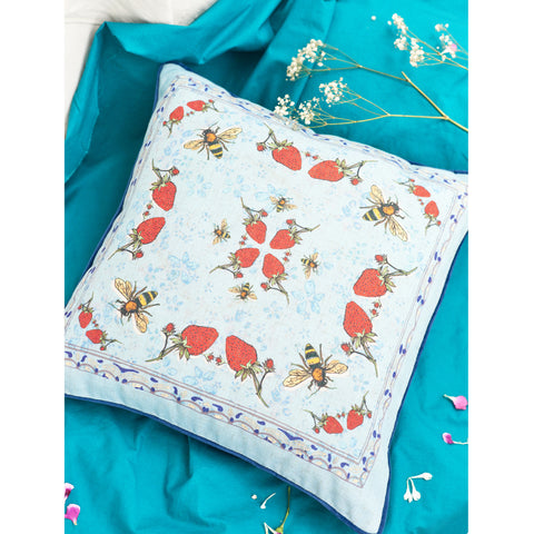 Hopsack Cushion Cover / ''Strawberry Garden""