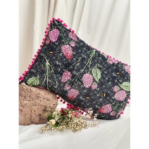 Velvet Long Cushion Cover / ''Strawberry Vines""