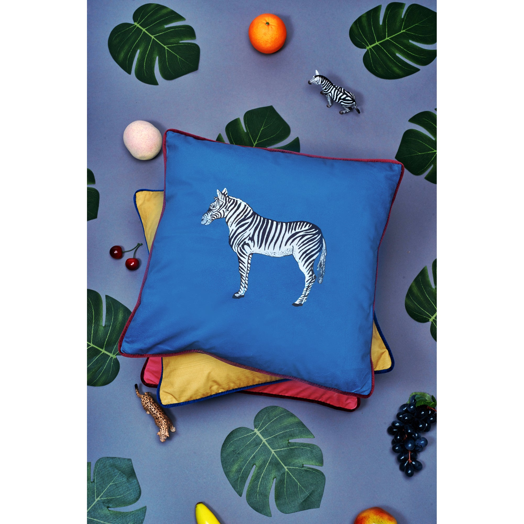 Velvet Cushion Cover  / ''The Zebra''