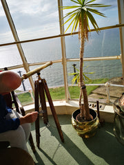 Looking out through telescope, the Lamp Room, The Lighthouse B&B, Llandudno