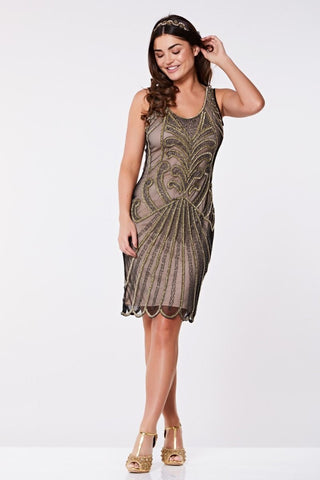 Gatsby Lady Francesca Beaded Flapper Dress in Nude with Black and Gold Embellishment