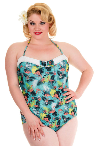 Banned Apparel Aqua Swimsuit with Pink Flamingos (Plus Size) - Kit'n'Heels