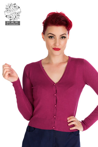 Wine Coloured Cardigan - Hearts and Roses London - Kit'n'Heels