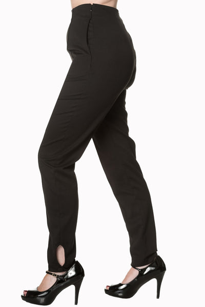 Tempting Fate High Waist Trousers - Black - Banned Apparel