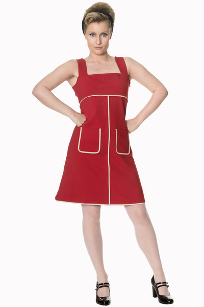 Banned Apparel Studio 64 1960's Inspired Pinafore Dress in Red and White