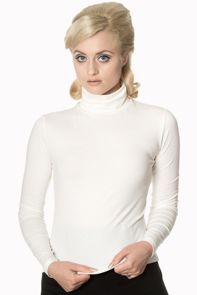 Banned Apparel Classic Beauty Polo Neck Sweater in Off White