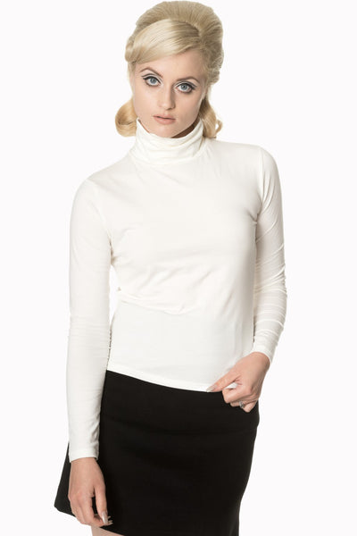 Banned Apparel Classic Beauty Polo Neck Sweater in Off White - Kit'n'Heels